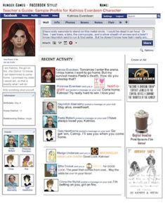 Katniss Everdeen Facebook Wall - creative projects for any book or story