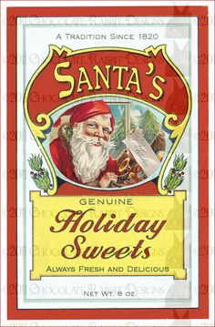 Christmas Candy Vintage Label - Digital Download