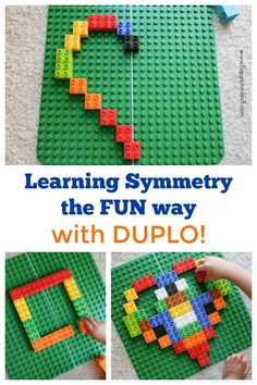 Learn symmetry for kids using Duplo - hands on way to learn Math. By Happy Tot Shelf