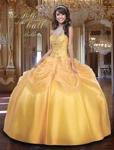 A beautiful themed Beauty and the Beast Quinceañera dress. You can have bouquets and bouquets and BOUQUETS of beautiful different colored roses for you beautiful theme.
