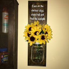 Inspirational Sunflower Decor By YvettesDecor On Etsy | Mason Jar | Wall  Decor | Sunflower Quote