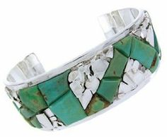 Turquoise Inlay Silver Jewelry Cuff Bracelet CW64820 SilverTribe. $579.99