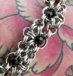 Items similar to Chainmaille Bracelet Aluminum With Black Crystals So Nice on Etsy Wire Jewelry, Jewelry Crafts, Beaded Jewelry, Jewelery, Seed Bead Necklace, Rope Necklace, Handmade Necklaces, Handmade Jewelry, Chainmail Patterns