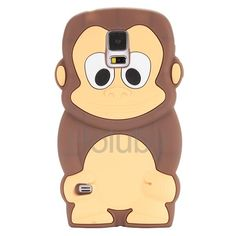 Lovely 3D Monkey Cartoon Pattern Design Soft Silicone Case for Samsung Galaxy S5 I9600 G900(Coffee)