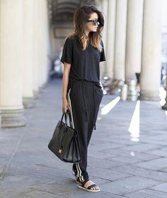 calça pantalona blusa preta street style