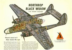 Cutaway view of the Northrop P-61 Black Widow night fighter. This plane features in issue #5 of Duster. http://duster.me