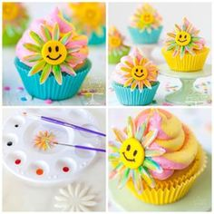 """So groovy, baby. Flash back to the 60's and the Summer of (cupcake) Love.  DIY of fun, happy and colorful tie-dye inspired """"have a happy day"""" daisy cupcakes. I used @wiltoncakes ColorSwirl Three-Color Coupler for the groovy color effect.  come join the love-in and give-away! http://bit.ly/1gxpqkX. #cupcakes #cupcakelove #cupcaketoppers #cute #baking #Wilton #wiltoncakes #wiltontreatteam #sixties #daisies #haveaniceday #haveahappyday"""