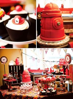 Fireman Party - so cute! Would be awesome for Ethan's bday party since I'm sure we will be having it at the firehouse anyway. Fireman Party, Firefighter Birthday, Fireman Cake, Birthday Fun, Birthday Parties, Birthday Ideas, Themed Parties, Deco Table, Childrens Party