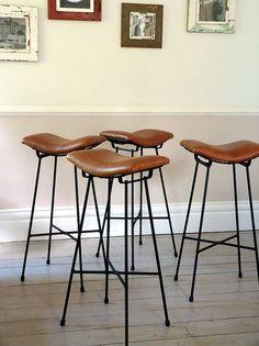Set of Four Vintage Leather Cafe Saddle Stools / by OrmstonSaintUK
