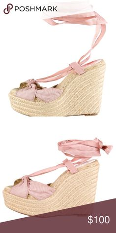 """Christian Louboutin lace-up espadrilles sandals Gorgeous Christian Louboutin lace-up espadrilles sandals with pink ribbon. Lightly worn, No box, No dust bag (shoes only) 4.5"""" high heels Christian Louboutin Shoes Espadrilles"""