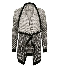 Ombre Waterfall Cardigan, Black/Ivory Mix