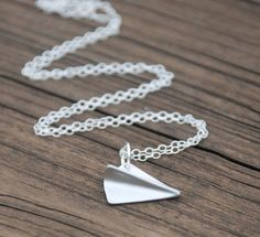 Origami paper airplanes necklaces Ideas for 2019 Origami Paper Plane, Origami Owl Easy, Origami Necklace, Origami Jewelry, Letter Charms, Memorial Gifts, Paper Hearts, Beautiful Necklaces, Sterling Silver Necklaces