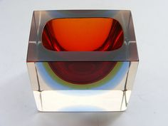 Murano faceted  sommerso glass bowl