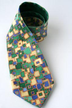 Blue green tie dapper tie  hand painted silk necktie (40.00 USD) by silkiness