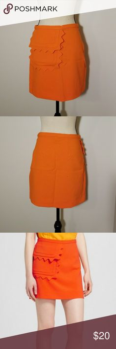 """Orange Twill Skirt with Scalloped Trim Pocket Adorable orange skirt with scalloped trim pocket. Victoria Beckham for target.  Approx measurements laying flat: waist 14.5"""" and length 17"""" Victoria Beckham for Target Skirts"""