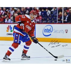 Jakub Vrana Washington Capitals Autographed 16 x 20 Photograph with NHL Debut Inscription - Limited Edition of 13 Washington Capitals Hockey, Hockey Teams, Nhl, Baseball Cards, Photograph, Sports, Photography, Hs Sports, Photographs