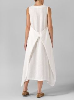 Linen Sleeveless Long Dress Off White Plus Size Dresses, Short Dresses, Summer Dresses, Sleeveless Dresses, Unique Outfits, Cool Outfits, Miss Me Outfits, Plus Clothing, Sophisticated Dress