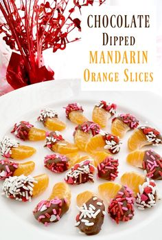 Chocolate Dipped Mandarin Orange Slices - A fun Valentine's Day or any day treat! #chocolate #oranges #valentinesday #dessert