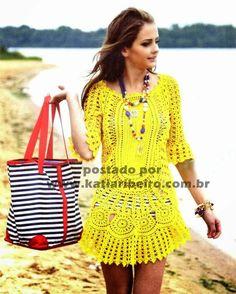 Saída de praia ou vestido em crochê com gráficos - Katia Ribeiro Moda e…