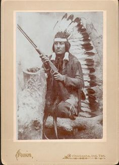 Collection Name:Photographic Study Collection  Creator:Irwin  Title:White Wolf, a Comanche indian warrior, ca. 1900  Title Type:Applied Title  Date:1900 ca.  Publisher:Irwin  Place:Chickasha, Indian territory, IT  Physical Description:Boudoir card photograph, b, 5.25 x 7.375 in.  Notes:On display in Osborn Photo Studio, 3/8/2004 - 10/3/2004