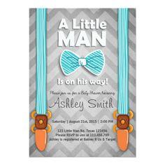 Baby Shower invite Little Man Bow tie Blue grey