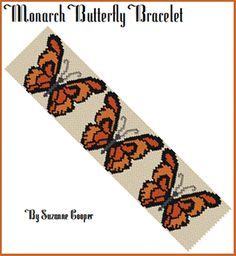 Monarch Butterfly Bracelet Pattern at Sova-Enterprises.com Lots of Free Beading Patterns and Tutorials!