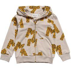 Beige & Yellow 'M' Jersey Zip-Up Top