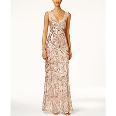 Adrianna Papell Petite Sequined Illusion Gown ($186) ❤ liked on Polyvore featuring dresses, gowns, rose gold, white evening gowns, sequin evening gowns, petite gowns, white dress and petite evening gowns