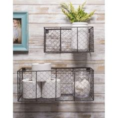 Wire Wall Basket, Baskets On Wall, Wire Basket Decor, Wire Basket Storage, Hanging Wire Basket, Bathroom Wall Baskets, Baskets For Storage, Mail Storage, Small Bathroom Storage