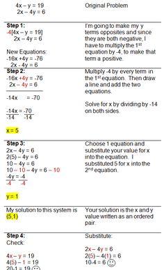 my algebra helper Solving Systems of Equations with Linear Combinations Algebra Help, Maths Algebra, Math Help, Statistics Math, College Math, Maths Exam, Math Notes, Math Formulas, Life Hacks For School