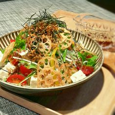 居酒屋風*カリカリじゃこと蓮根チップの豆腐サラダ☆