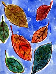 Fall art leaves first grade art