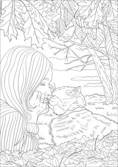 Friends Forever - FREE original fall coloring page for Cat Lovers