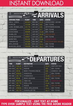 ♥´¨*) ¸.·´¸.·*´¨) ¸.·*¨) (¸.·´These fun Airport Terminal Signs are an INSTANT DOWNLOAD by SimplyEverydayMe. There are TWO 17 x 11 signs in this kit. Personalize the EDITABLE text areas: Airport/Airline, Arrival Locations... AND... the Departure Locations... Plus all the other fun flight info. The signs are formatted in a 17 x 11 landscape orientation. NOTE: They cannot be printed at a photo center, but you may print at copy center; you print as many times as you need. They are for your p...