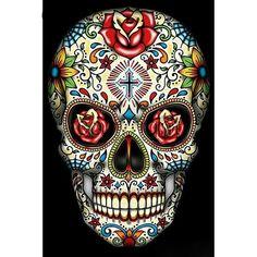 Sugar Skull With Cross Tattoo T-Shirt Plus Size- Supersize Rhinestone Dotd Skull Wall Art, Skull Artwork, Skull Painting, Body Painting, Candy Skulls, Mexican Skulls, Mexican Art, Mexican Skull Tattoos, La Muerte Tattoo
