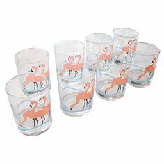Flamingo vintage verres