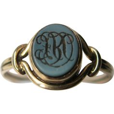 Antique French Victorian 14k Gold Ring Intaglio with Monogram 19th century