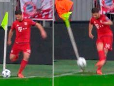 Hiszpan chciał wykonać rzut rożny, ale zamiast w piłkę trafił w chorągiewkę • Xabi Alonso w meczu Bayern vs Arsenal • Zobacz film >> #bayern #funny #bayernmunich #football #soccer #sports #pilkanozna