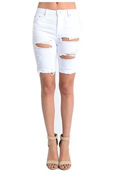 TwiinSisters Women's Casual Destroyed Mid Rise Twill Bermuda Shorts with Comfort Stretch Ripped Bermuda Shorts, Cheap Deals, Women's Casual, Mens Fashion, Sexy, Clothing, Cotton, Moda Masculina, Outfits