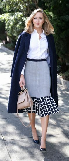 navy graphic trumpet skirt, white non-iron dress shirt, navy wool coat, navy patent pointed toe pumps + nude handbag {ty-lr, brooks brothers, andrew marc, jimmy choo, dolce&gabbana}