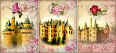 """9 """"Fairy Tales"""" Castles Fantasy Flora Hang Gift Tags for Scrapbook Pages 02 