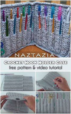 Crochet Hook Holder Case [Free Pattern and Video Tutorial] Just look at this, a crochet project for your crochet projects. Crochet Hook Holder Case Pattern and Video Tutorial Free Crochet Case, Love Crochet, Crochet Gifts, Crochet Hooks, Crochet Things, Crochet Top, Crochet Needles, Crochet Stitches, Knitting Needles