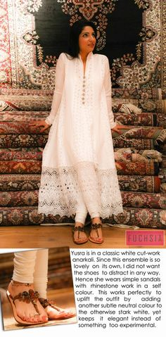 white lacy long kurta: