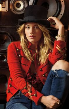 This Ralph Lauren Denim & Supply band jacket is designed with gold-toned buttons and metallic trim.