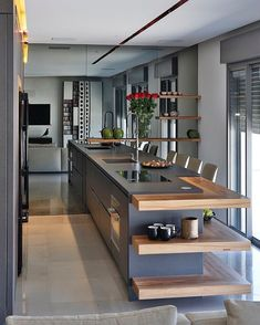 stunning modern dream kitchen design ideas and decor 11 < Home Design Ideas Luxury Kitchen Design, Kitchen Room Design, Kitchen Cabinet Design, Luxury Kitchens, Home Decor Kitchen, Interior Design Kitchen, Beautiful Kitchen Designs, Beautiful Kitchens, Küchen Design