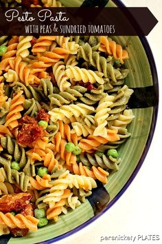 A simple, light & summery pasta salad with peas and sun dried tomatoes.