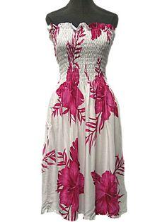 HAWAIIAN PINK HIBISCUS FLOWERS SHORT SUN DRESS