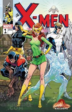 The original X-Men by J. Scott Campbell from his variant cover to X-Men: Blue Marvel Comics Art, Marvel Comic Universe, Marvel Comic Books, Comic Book Heroes, Marvel Heroes, Comic Books Art, Comic Art, Marvel Defenders, Comic Book Artists