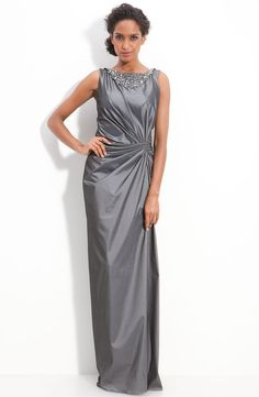 Tadashi Shoji Jeweled Stretch Taffeta Sleeveless Gown (size 14) #TadashiShoji #Formal