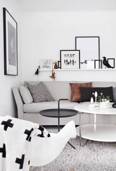 The main feature in a simple Scandinavian space is a neutral palette. Blacks, whites, and neutrals are shown in all shades. Accomplish this in your own home by applying a fresh coat of white to your walls, and if you're feeling daring, to your floors as well. The bright base will allow for neutral furnishings to add contrast and character.